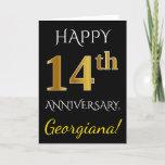 [ Thumbnail: Black, Faux Gold 14th Wedding Anniversary + Name Card ]