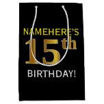 [ Thumbnail: Black, Faux Gold 15th Birthday + Custom Name Gift Bag ]