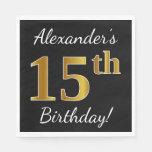 [ Thumbnail: Black, Faux Gold 15th Birthday + Custom Name Paper Napkin ]