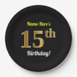 [ Thumbnail: Black, Faux Gold 15th Birthday + Custom Name Paper Plate ]