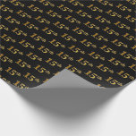 [ Thumbnail: Black, Faux Gold 15th (Fifteenth) Event Wrapping Paper ]