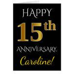 [ Thumbnail: Black, Faux Gold 15th Wedding Anniversary + Name Card ]