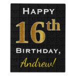 [ Thumbnail: Black, Faux Gold 16th Birthday + Custom Name Jigsaw Puzzle ]