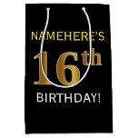 [ Thumbnail: Black, Faux Gold 16th Birthday + Custom Name Gift Bag ]