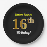 [ Thumbnail: Black, Faux Gold 16th Birthday + Custom Name Paper Plate ]
