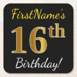[ Thumbnail: Black, Faux Gold 16th Birthday + Custom Name Paper Coaster ]