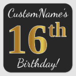 [ Thumbnail: Black, Faux Gold 16th Birthday + Custom Name Sticker ]