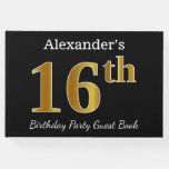 [ Thumbnail: Black, Faux Gold 16th Birthday Party + Custom Name Guest Book ]