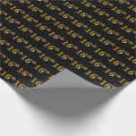 [ Thumbnail: Black, Faux Gold 16th (Sixteenth) Event Wrapping Paper ]