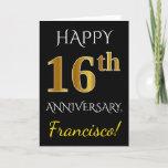 [ Thumbnail: Black, Faux Gold 16th Wedding Anniversary + Name Card ]