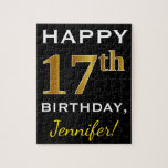 [ Thumbnail: Black, Faux Gold 17th Birthday + Custom Name Jigsaw Puzzle ]