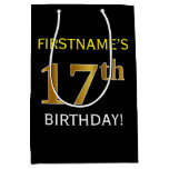 [ Thumbnail: Black, Faux Gold 17th Birthday + Custom Name Gift Bag ]