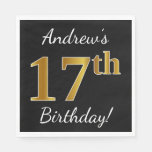 [ Thumbnail: Black, Faux Gold 17th Birthday + Custom Name Napkin ]