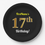 [ Thumbnail: Black, Faux Gold 17th Birthday + Custom Name Paper Plate ]