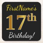 [ Thumbnail: Black, Faux Gold 17th Birthday + Custom Name Paper Coaster ]