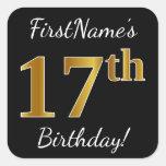 [ Thumbnail: Black, Faux Gold 17th Birthday + Custom Name Sticker ]