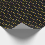 [ Thumbnail: Black, Faux Gold 17th (Seventeenth) Event Wrapping Paper ]