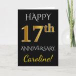 [ Thumbnail: Black, Faux Gold 17th Wedding Anniversary + Name Card ]