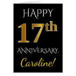 [ Thumbnail: Black, Faux Gold 17th Wedding Anniversary + Name Card ]