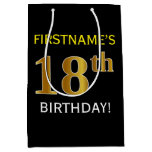 [ Thumbnail: Black, Faux Gold 18th Birthday + Custom Name Gift Bag ]