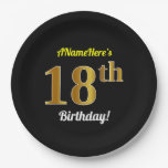 [ Thumbnail: Black, Faux Gold 18th Birthday + Custom Name Paper Plate ]