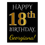 [ Thumbnail: Black, Faux Gold 18th Birthday + Custom Name Postcard ]