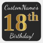 [ Thumbnail: Black, Faux Gold 18th Birthday + Custom Name Sticker ]