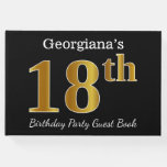 [ Thumbnail: Black, Faux Gold 18th Birthday Party + Custom Name Guest Book ]