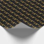[ Thumbnail: Black, Faux Gold 18th (Eighteenth) Event Wrapping Paper ]
