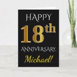 [ Thumbnail: Black, Faux Gold 18th Wedding Anniversary + Name Card ]