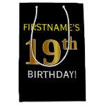 [ Thumbnail: Black, Faux Gold 19th Birthday + Custom Name Gift Bag ]