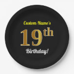 [ Thumbnail: Black, Faux Gold 19th Birthday + Custom Name Paper Plate ]