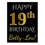 [ Thumbnail: Black, Faux Gold 19th Birthday + Custom Name Postcard ]