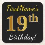 [ Thumbnail: Black, Faux Gold 19th Birthday + Custom Name Paper Coaster ]