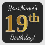 [ Thumbnail: Black, Faux Gold 19th Birthday + Custom Name Sticker ]