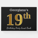 [ Thumbnail: Black, Faux Gold 19th Birthday Party + Custom Name Guest Book ]