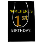 [ Thumbnail: Black, Faux Gold 1st Birthday + Custom Name Gift Bag ]