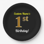 [ Thumbnail: Black, Faux Gold 1st Birthday + Custom Name Paper Plate ]