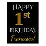 [ Thumbnail: Black, Faux Gold 1st Birthday + Custom Name Postcard ]