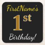[ Thumbnail: Black, Faux Gold 1st Birthday + Custom Name Paper Coaster ]