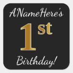 [ Thumbnail: Black, Faux Gold 1st Birthday + Custom Name Sticker ]