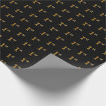 [ Thumbnail: Black, Faux Gold 1st (First) Event Wrapping Paper ]