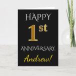[ Thumbnail: Black, Faux Gold 1st Wedding Anniversary + Name Card ]