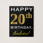 [ Thumbnail: Black, Faux Gold 20th Birthday + Custom Name Jigsaw Puzzle ]