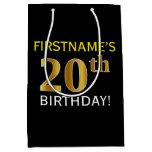 [ Thumbnail: Black, Faux Gold 20th Birthday + Custom Name Gift Bag ]
