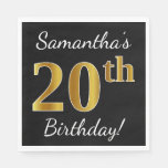 [ Thumbnail: Black, Faux Gold 20th Birthday + Custom Name Paper Napkin ]