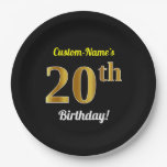 [ Thumbnail: Black, Faux Gold 20th Birthday + Custom Name Paper Plate ]