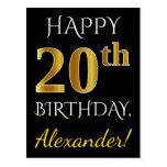 [ Thumbnail: Black, Faux Gold 20th Birthday + Custom Name Postcard ]