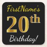 [ Thumbnail: Black, Faux Gold 20th Birthday + Custom Name Paper Coaster ]