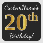 [ Thumbnail: Black, Faux Gold 20th Birthday + Custom Name Sticker ]